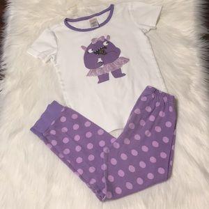 Gymboree short sleeve purple monster pajamas